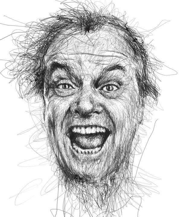 Винс Лоу создает портреты знаменитостей авторучкой