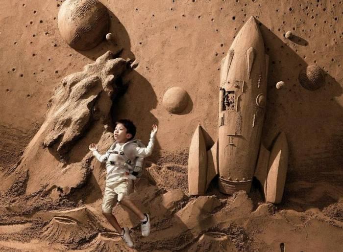 Китайский мастер создает удивительные песчаные скульптуры (14 фото)