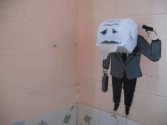 Граффити в стиле Banksy в Симферополе (16 фото)