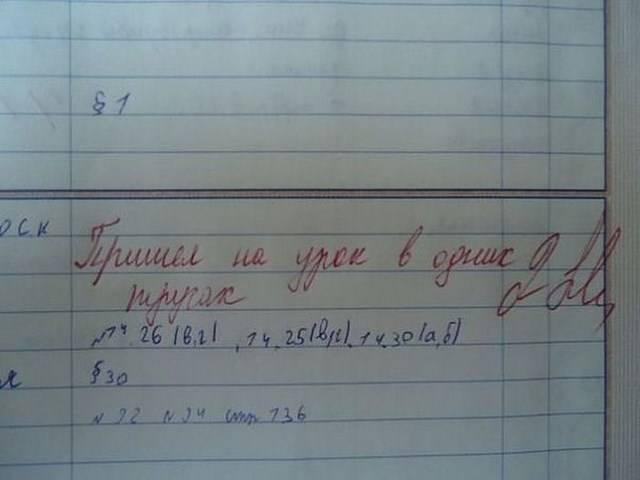 Прикольные замечания учителей в дневниках школьников (24 фото)