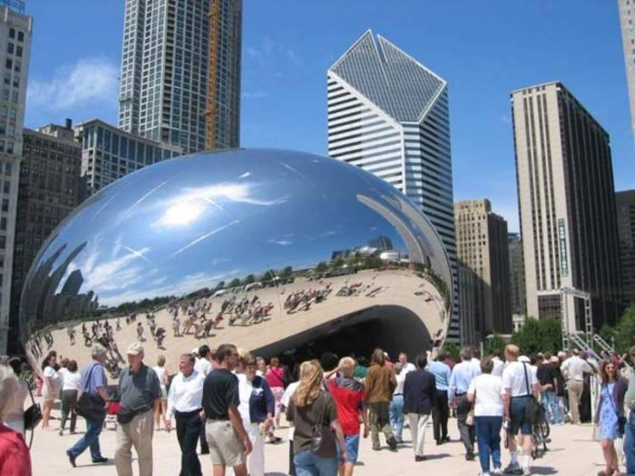 """Восьмое чудо света Америки - """"Облачные ворота"""" в Чикаго  (5 фото)"""