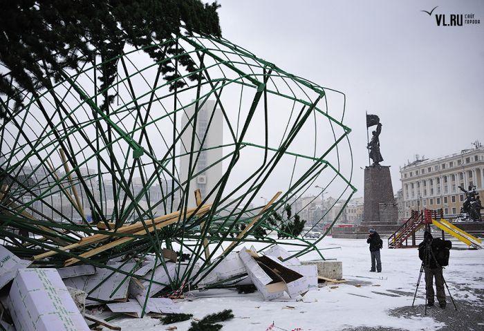 Во Владивостоке упала городская ёлка (18 фото)
