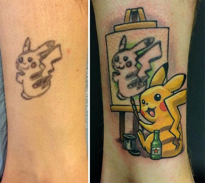 Исправление неудачной татуировки (4 фото)