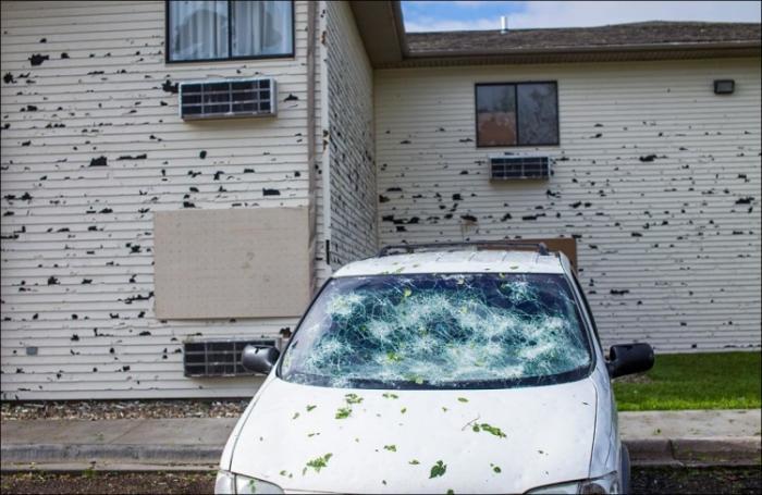 Ужасный град в городке Блэр, Небраска (20 фото)