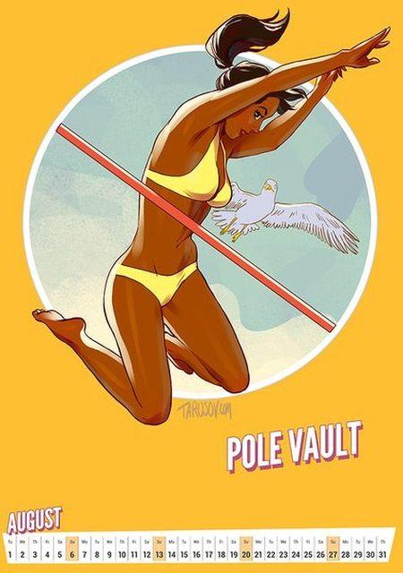 Олимпийский календарь в стиле пин-ап от Андрея Тарусова (12 фото)