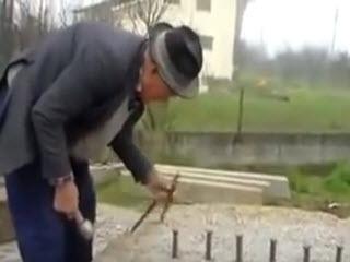 Дед раскалывает огромный камень