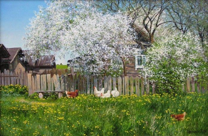 Деревенские пейзажи Татьяны Черных (13 фото)