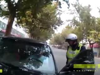 Прокатил полицейского на капоте