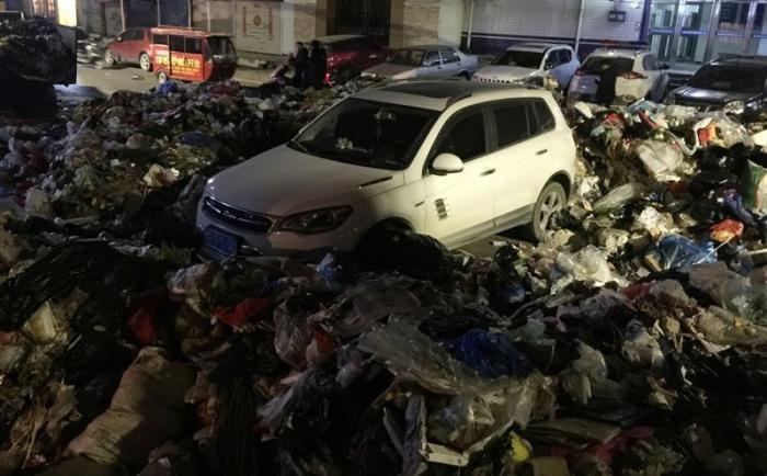 Автомобиль, преградивший въезд мусорщиками, завалили 10 тоннами мусора (6 фото)