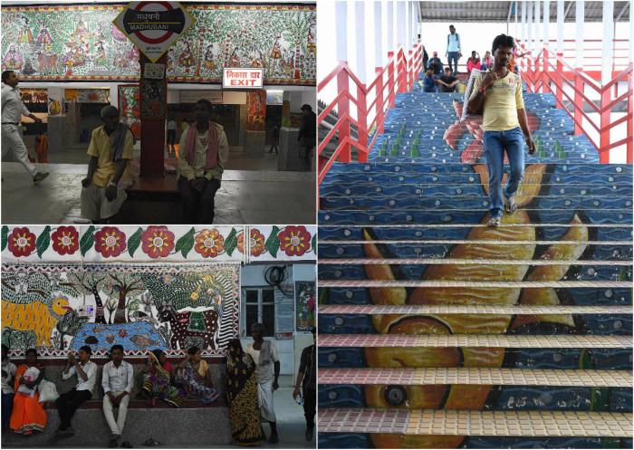 Художники преобразили самую грязную ж/д станцию в Индии (5 фото)