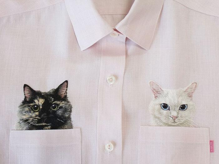 Карманные котики: чудесные вышивки от японского дизайнера (11 фото)