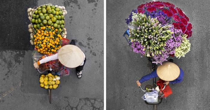 Вьетнамские уличные торговцы – воплощение гармонии (13 фото)